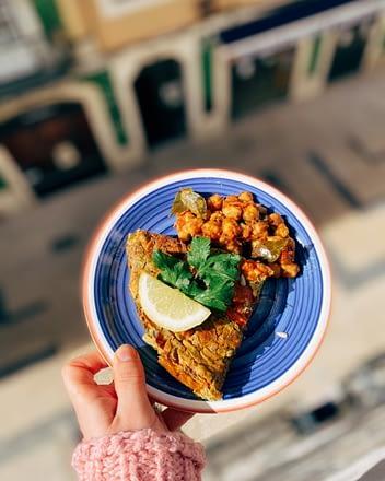 Vegan Frittata op bord